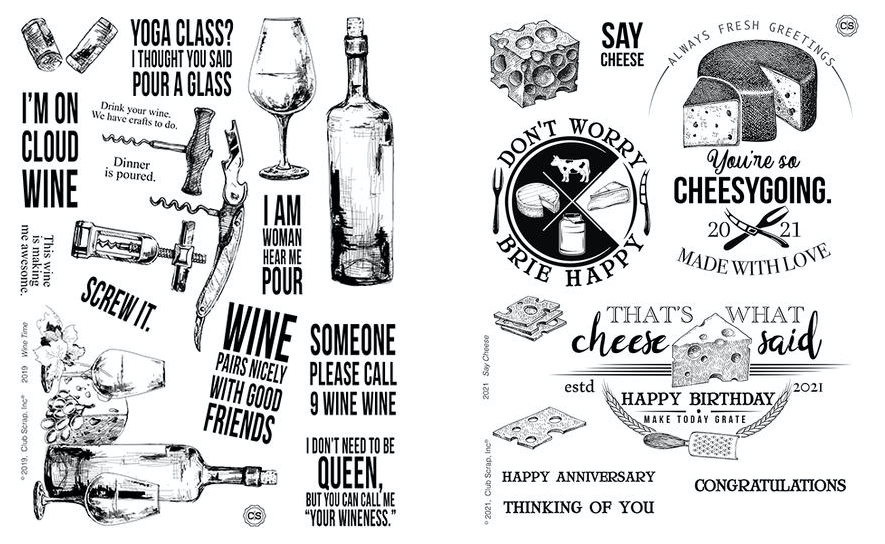 Wine Time and Say Cheese Stamps #clubscrap #stamps